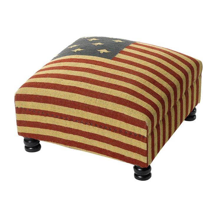 Vintage American Flag Coffee Table | Vintage Farmhouse Patriot Bench Ottoman