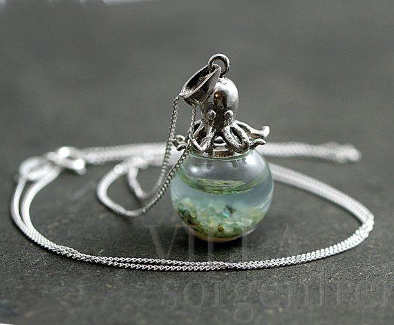 Pfund Sterling Krake Meerwasser Halskette. 925 von VillaSorgenfrei