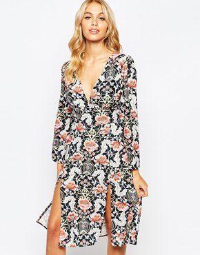 Love V Front Midi Dress in Allover Print
