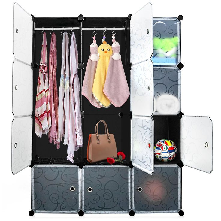 DIY Cube Organizer, Multi-use Plastic Storage Cabinet, Carttiya Closet Wardrobe with Translucent Doors, Modular Closet System with 2 Hanging Rods for Clothes, Shoes, Toys (12 Cubes)