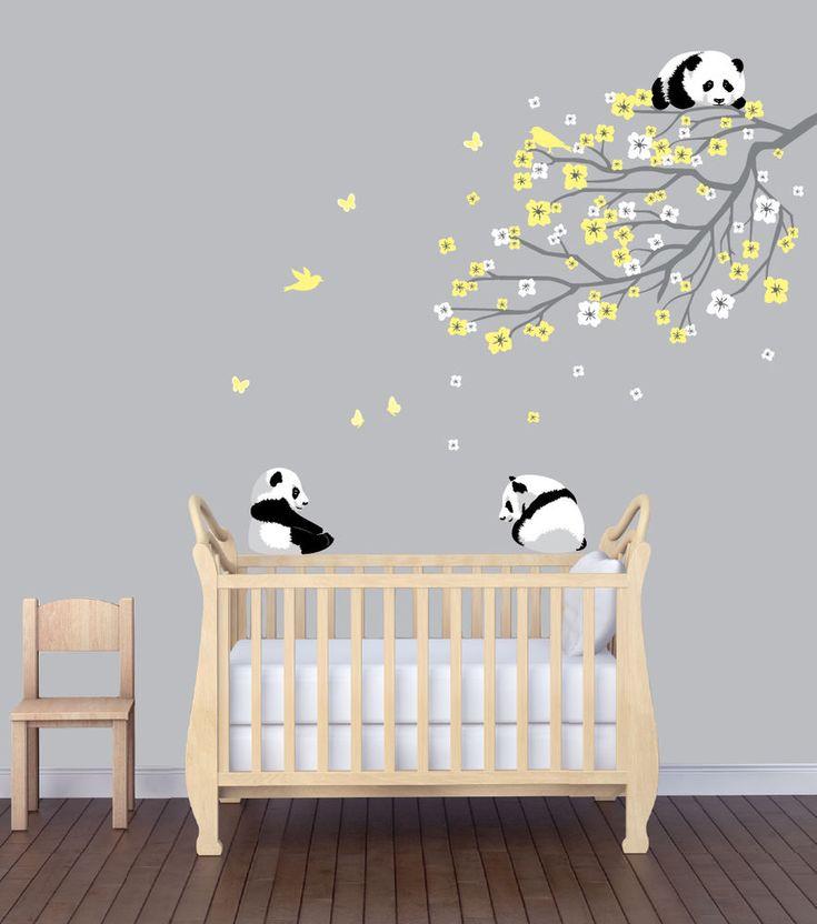 Flower Branch Panda Nursery Sticker, Animal Wall Art, Flower Wall Decor, Panda #NurseryDecalsandMore
