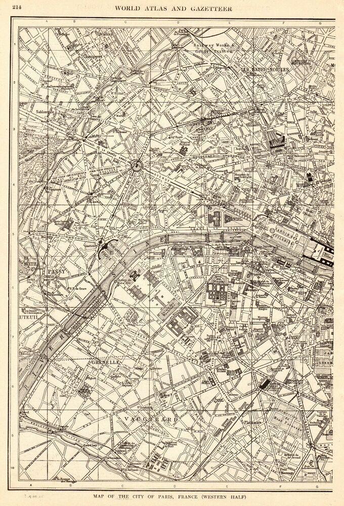 1918 Antique Paris Map Vintage City Map Of Paris France Gallery Wall