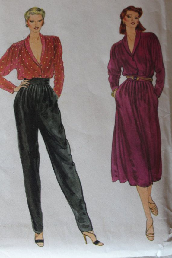Vintage Vogue 1970s Sewing Pattern 7409 Misses Blouse, Skirt and Pants Size 10