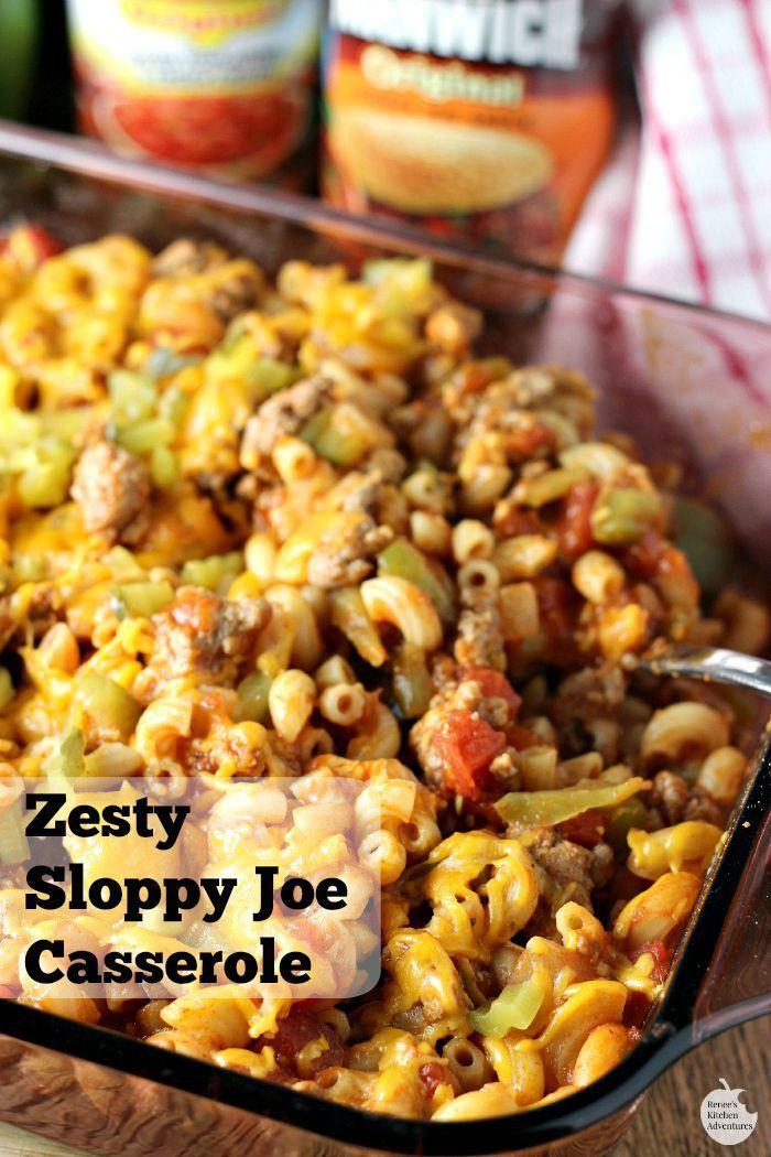 Zesty Sloppy Joe Casserole   by Renee's Kitchen Adventures - Easy recipe for a spicy Sloppy Joe casserole perfect for weeknight dinner! #YesYouCAN ad