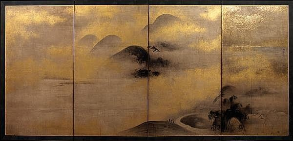 BYOBU (PARAVENT) À QUATRE FEUILLES peint à l'encre sur fond saupoudré d'or, à décor d'un paysage montagneux planté de saules et construit de pavillons. Japon, période Meiji (1868-1912).