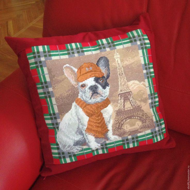 Купить Вышивка крестиком Подушка вышитая Французский бульдог - подушка, подушка декоративная, подушка на диван
