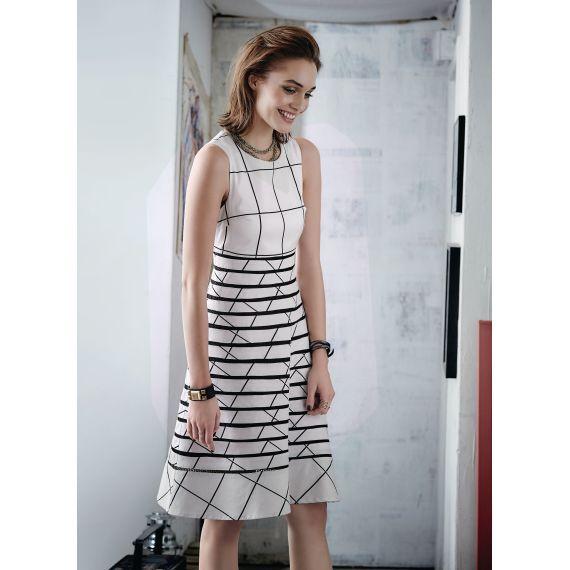 Kleid, Transparenz, A-Linie, geometrisches Muster Vorderansicht