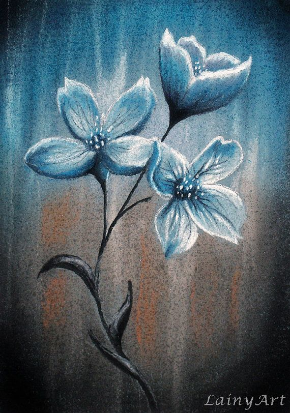 Blue flowers  ACEO soft pastel drawing  All proceeds by LainyArt, $8.00