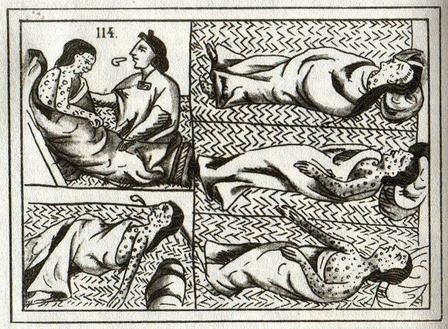 Columbian Exchange of diseases 16th century drawing of