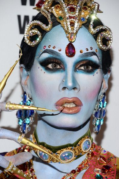CREATIVE DRAG QUEENS - Some focus on looking glamorous or like a woman and then some are just awesome and make it an art form, This picture is of Raja. Another favorite is Sharon Needles!!