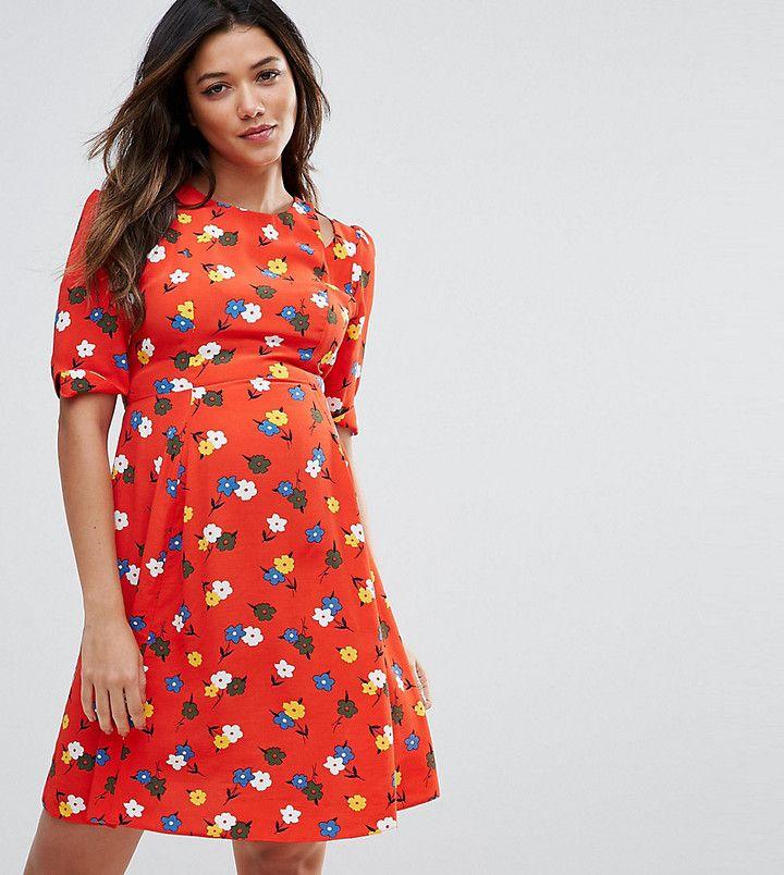 Asos PETITE Cut out Shoudler 40's Printed Tea Dress