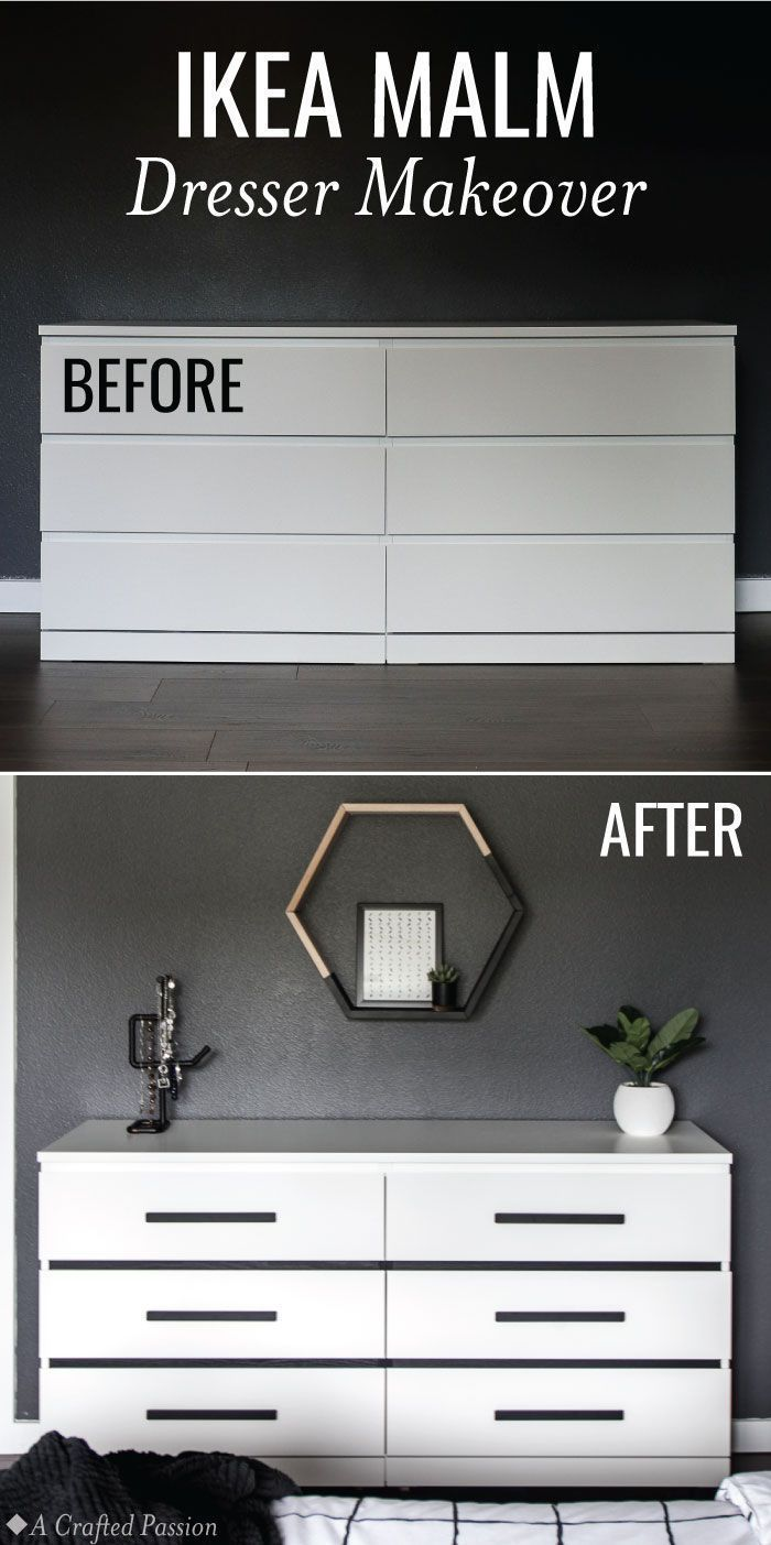 Before After Ikea Malm Dresser Makeover Hack Ikea Malm Dresser Ikea Furniture Makeover Ikea Makeover [ 1403 x 700 Pixel ]