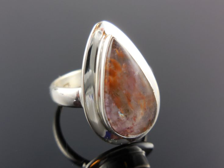 Cacoxenite Mineral Cabochon Sterling Silver Ring - Size 6.5