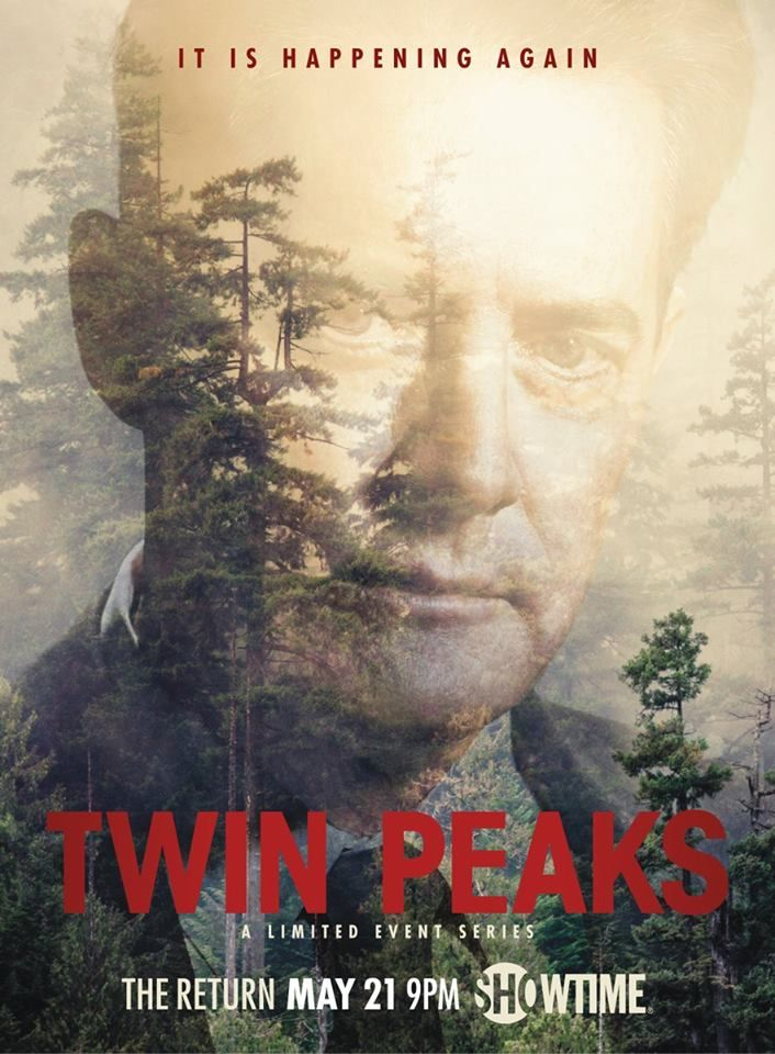 """Twin Peaks The Return (Showtime-May 21, 2017 an American serial drama TV series created by Mark Frost and David Lynch. Continuation of 1990–91 ABC series. Stars: Kyle MacLachlan, Sheryl Lee, Mädchen Amick. The series highlights """"the core of it is Agent Cooper's odyssey back to Twin Peaks""""."""