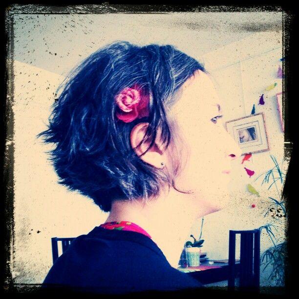 Coupe #cheveux #carré #court #fleur