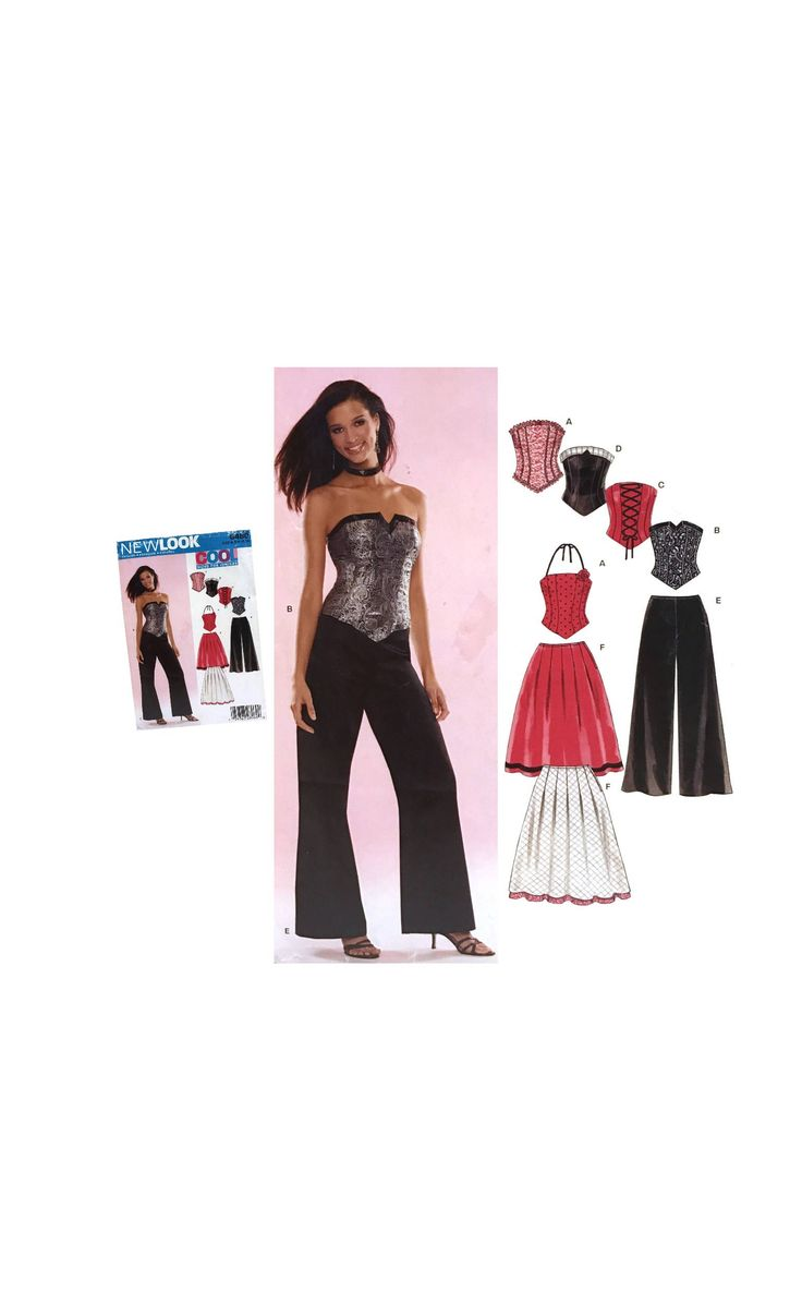 Teen Corset Top Pattern Teen Pants Pattern Teen Flared Skirt Pattern Junior size 3/4 5/6 7/8 9/10 11/12 13/14  New Look 6480 Sewing Pattern by UpstairsAttic on Etsy