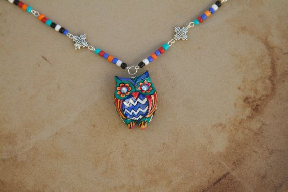OOAK Beautiful Sculpted Hand Painted Owl by sugarskullshoppe