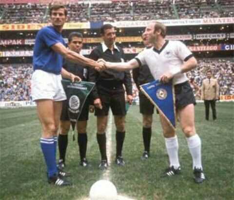 Italy 4 West Germany 3 in 1970 in Mexico City. The captains shake hands before the World Cup Semi Final.