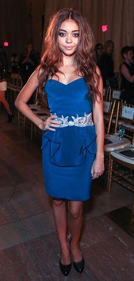 #SarahHyland in #Notte by #Marchesa Silk Strapless Metallic Applique Cocktail Dress $302.00