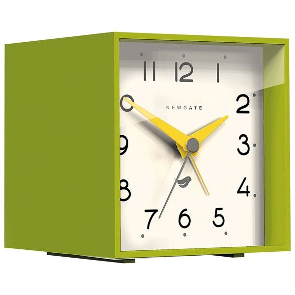 Newgate Cubic II Alarm Clock   Lime Green   Designer Desk Clock