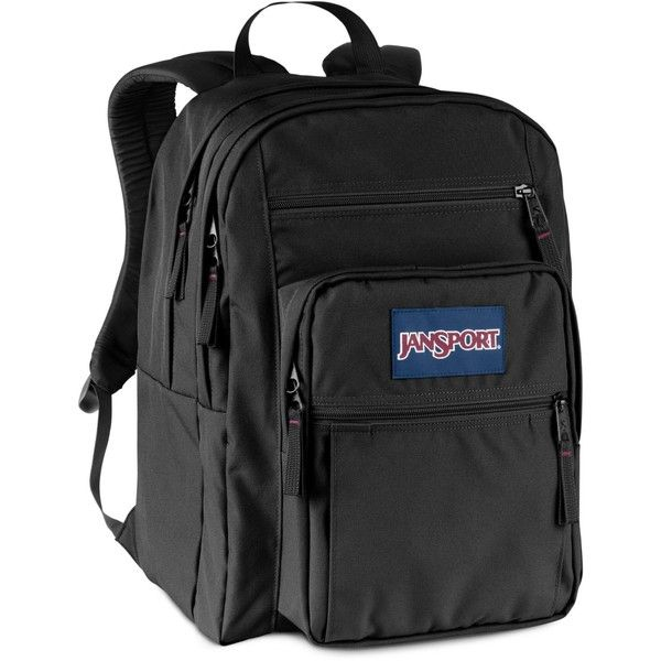 Jansport Big Student Backpack in Black ($46) ❤ liked on Polyvore featuring bags, backpacks, black, backpack bags, jansport, jansport rucksack, day pack backpack and jansport bags