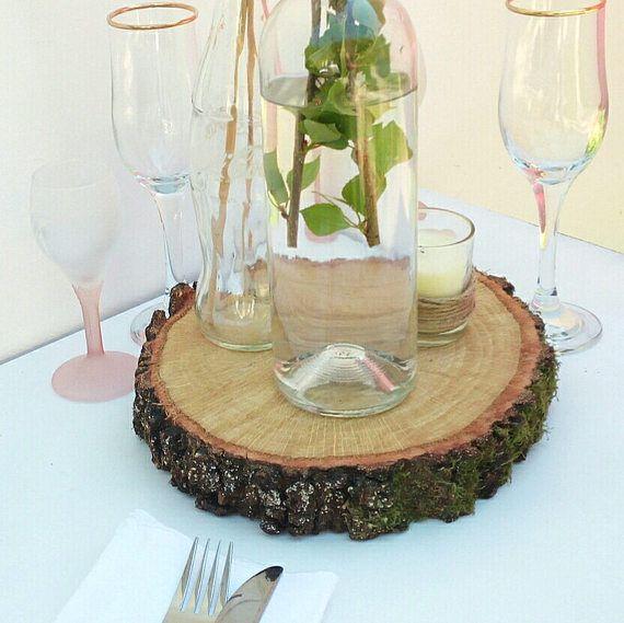 10 madera rebanada mesa decoraciones de la boda centros