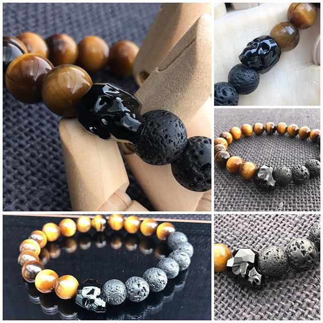 Sale! Skull Bracelet with Black Swarovski Crystal Skull, Tiger Eye and Lavastone. 10mm beads on crystal elastic. $65 not including postage. #marshyrjewellery #lavastone #tigereye #swarovski #skull
