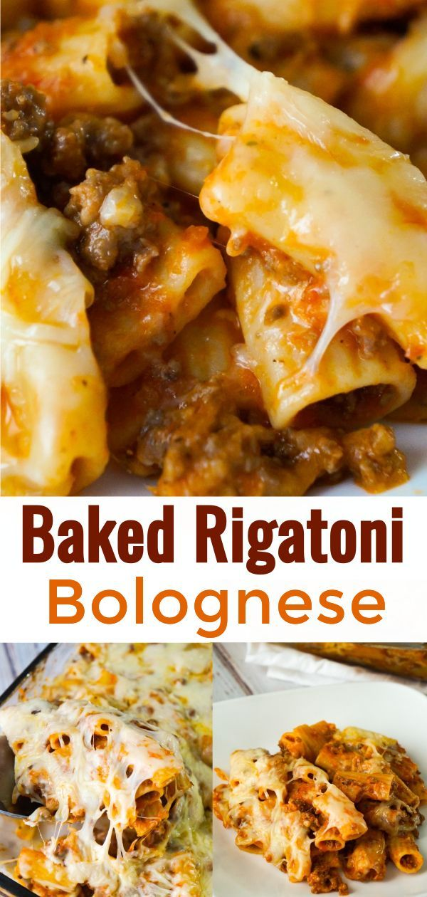 Baked Rigatoni Bolognese Is A Delicious Pasta Recipe Loaded With Ground Beef Marinara And Baked Wi In 2020 Baked Rigatoni Beef Pasta Recipes Ground Beef Pasta Recipes