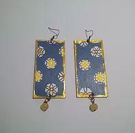 collezione Terre D'Oriente-Blue Japan- orecchini in carta washi su legno