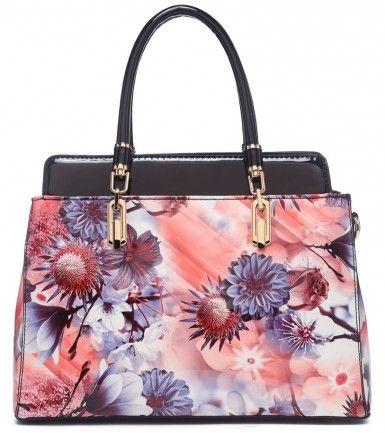 Moderní lakovaná kabelka s květy 6002 černá - Kliknutím zobrazíte detail obrázku.