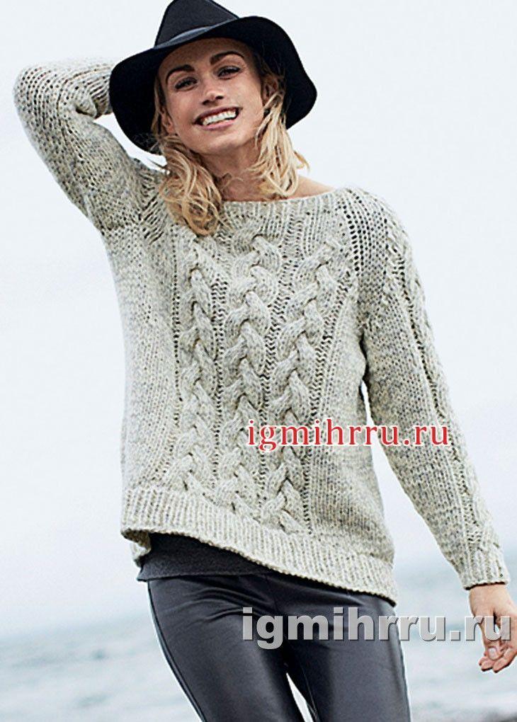 Светлый меланжевый пуловер с «косами». Вязание спицами