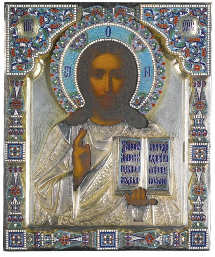 Religious Art: A Silver-gilt And Cloisonné Enamel Icon Of Christ