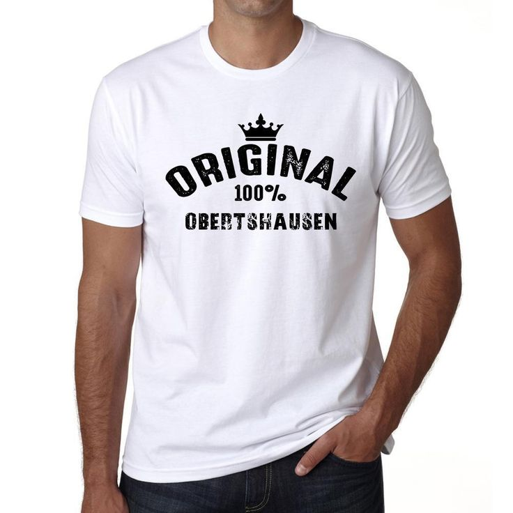 obertshausen, 100% German city white, Men's Short Sleeve Rounded Neck T-shirt