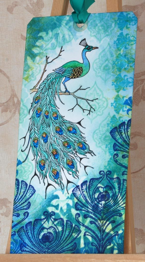 handmade Misty Peacock Tag ... Chocolate Baroque stamps ... gorgeous blues ...