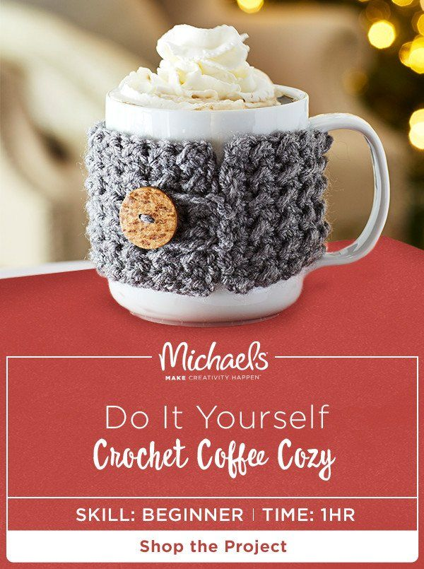 The holidays are fast approaching but first, COFFEE! If you want your cup of Joe to feel just as cozy as you this Christmas then we've got the perfect DIY for you. This Crochet Coffee Cozy adorably bundles your brew and is easy to MAKE. Keep them for yourself (we won't blame you!) or add them to your gift list as stocking stuffers. Find the complete how to and more on the Michaels project page.