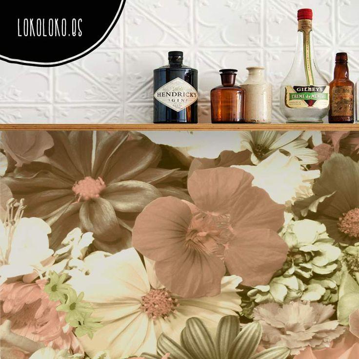 Vinilo adhesivo de diseño fotográfico en tonos tierra #lokolokodecora #vinilomuebls #flores #vintage #decoracion