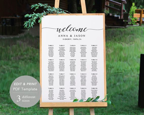 Wedding Seating Chart Template, Seating Chart Printable, Seating Board, Printable File, Editable PDF, DIY, Instant Download, Rustic Wedding