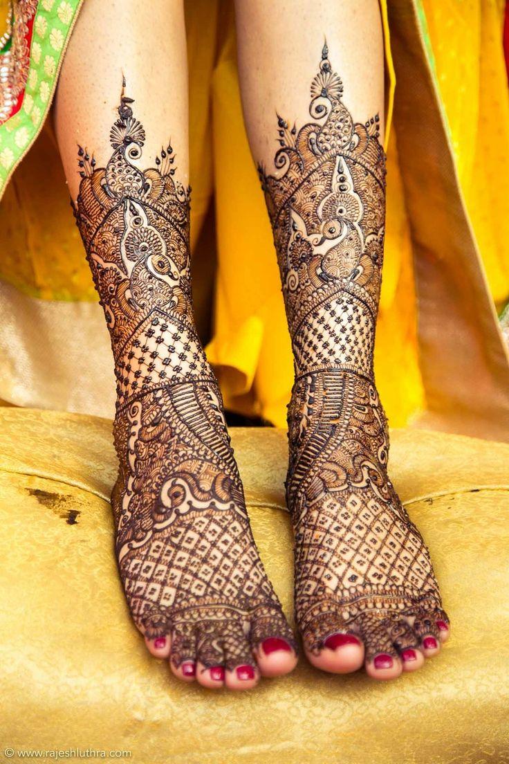 Mehendi Designs - Bridal Feet Mehendi with Jaal and Peacock Designs | WedMeGood #wedmegood #feet #mehendi #peacock