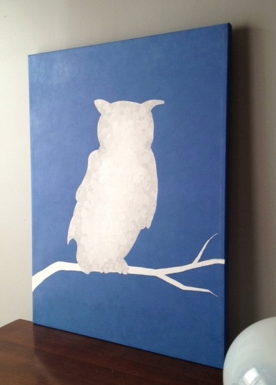 White Owl Silhouette on Blue Abstract Original Painting $55 via Etsy.com