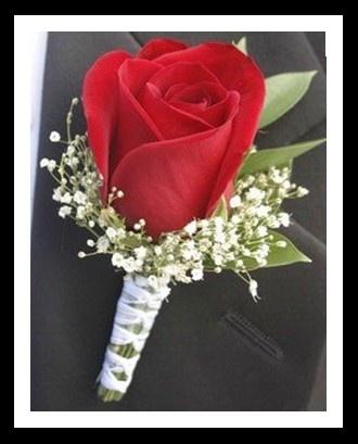 Butonnière de rosa roja. Flores para bodas en San Valentín #SanValentin