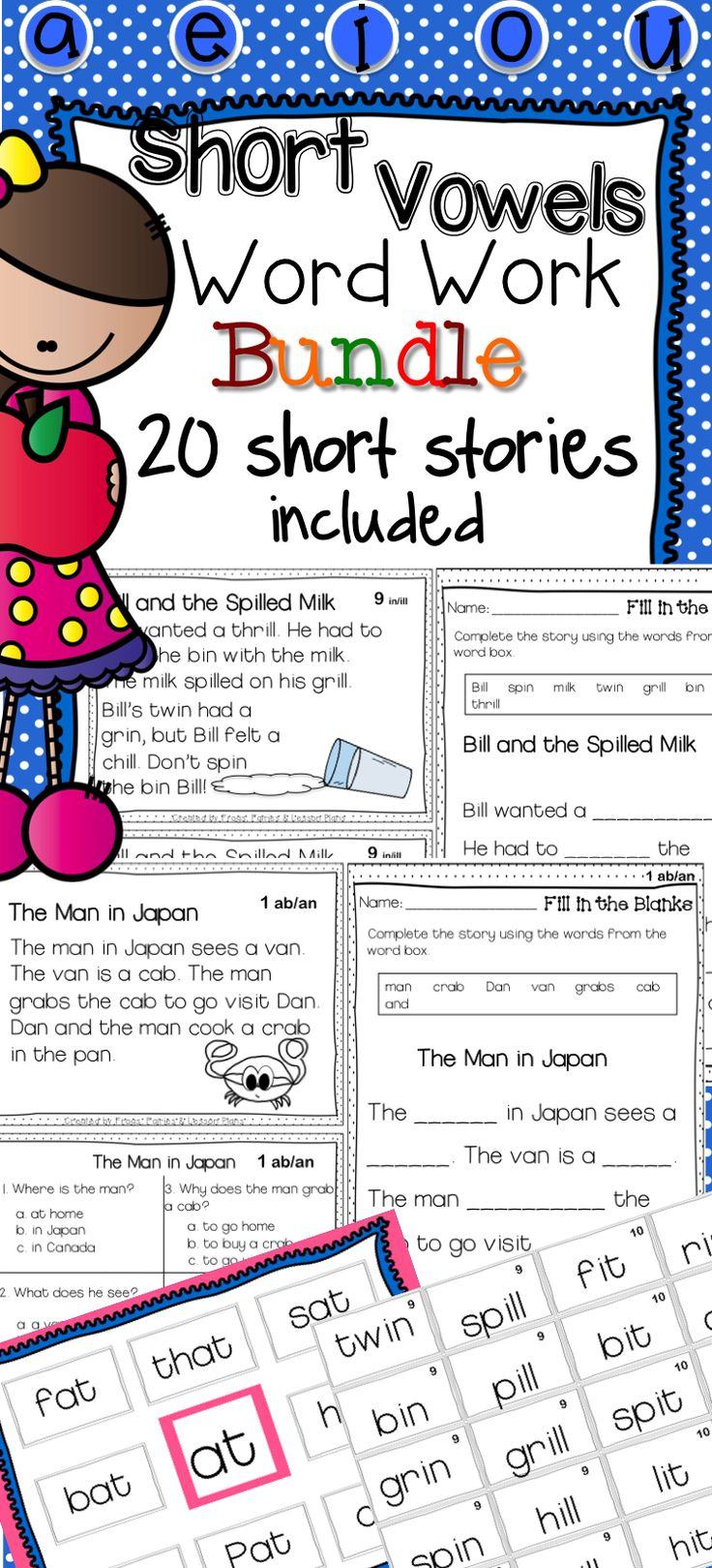 20 weeks of Word Work centers and activities!!! This Word Work product includes short stories, comprehension questions, sorting cards, fill in the blanks, and other goodies! Click to see a preview. Free sample available!!!