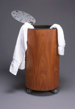 """Launch"" Walnut Clothing Hamper - contemporary - Hampers - Orange County - WHITWORTH DESIGN"