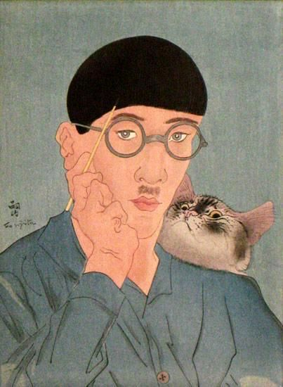 Cat and Self-portrait by Foujita.  When he arrived in Paris in 1913, knowing nobody, he met Amedeo Modigliani, Pascin, Chaim Soutine, and Fernand Léger and became friends with Juan Gris, Pablo Picasso and Henri Matisse. Foujita claimed in his memoir that he met Picasso less than a week after 60,000 people attended his exhibition...