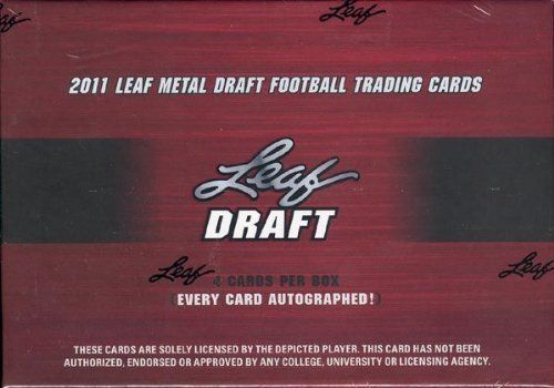 2011 Leaf Metal Draft Football Cards Unopened Hobby Box (4 Rookie Autographs) - Possible Autos of Cam Newton, Ryan Mallett, Blaine Gabbert, Mark Ingram, Nick Fairley, AJ Green, Casey Matthews & more!! by Leaf. $81.95. 2011 Leaf Metal Draft Football Cards Unopened Hobby Box (4 Rookie Autographs) - Possible Autos of Cam Newton, Ryan Mallett, Blaine Gabbert, Mark Ingram, Nick Fairley, AJ Green, Casey Matthews & more (70 Different Players Available).Each box contains 4...