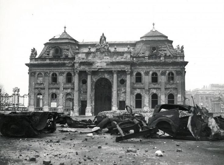 Northern facade of the Royal Palace of Buda. The gate was demolished during the 1960s reconstruction works.  photo credit: Fortepan