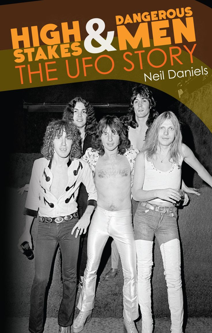 Front cover of High Stakes & Dangerous Men: The UFO Story, By Neil Daniels. ISBN: 9780957144262, £14.99. A lot of people asked us why we chose this cover image. It was a tough call, because so many great musicians have passed through their ranks. I think Schenker's boots swayed it for us! L to R: Danny Peyronel, Andy Parker, Phil Mogg, Pete Way, Michael Schenker, taken in 1976. Image Jorgen Angel/Redferns.