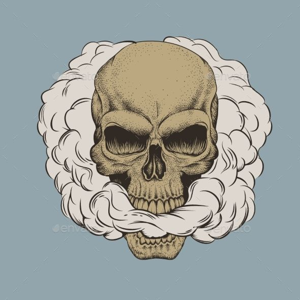 Skull Breathes the Smoke Out of His Mouth - Tattoos Vectors