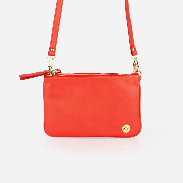 The Essentials Purse - red leather small cross-body bag - Poppy Barley