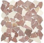 Polygonales Marmor-Natursteinmosaik Biancone & Rosso Verona