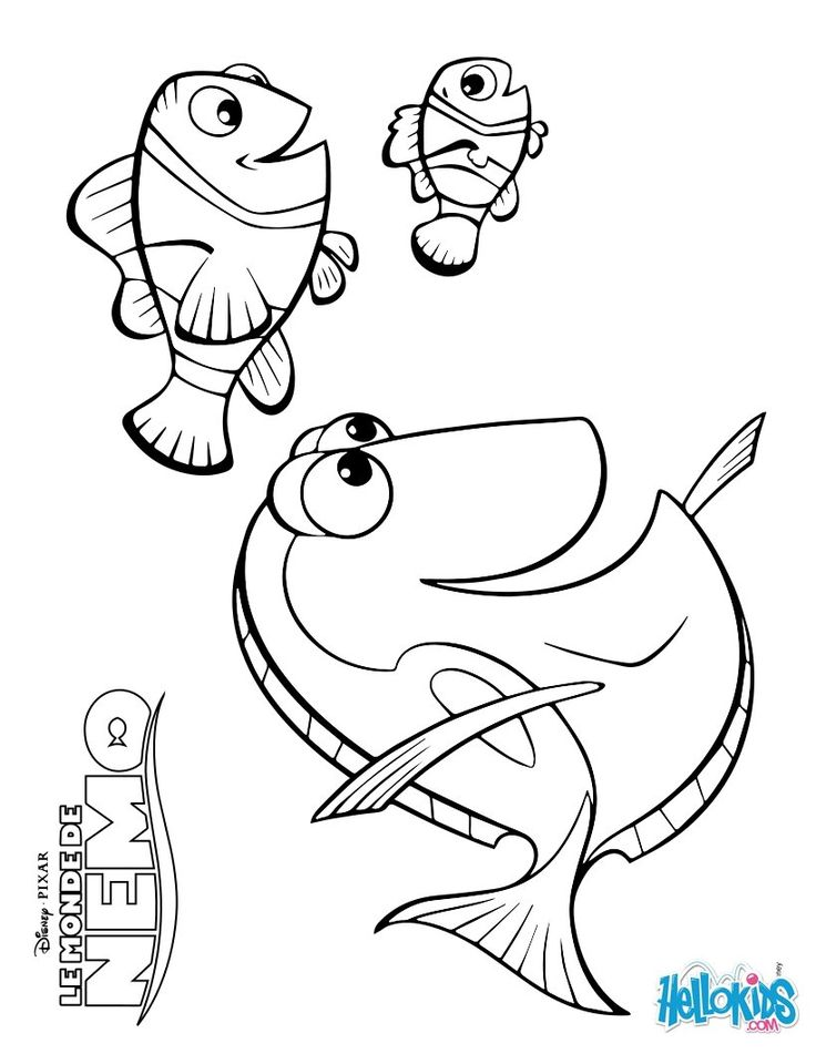 Marlin, Dory and Nemo coloring page Church's nursery